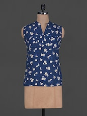 Floral Printed Sleeveless Rayon Top - Harpa