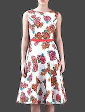 Floral Printed Boat Neck Cotton Dress - Harpa