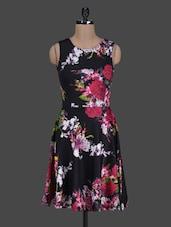 Floral Printed Poly Lycra Skater Dress - Harpa