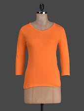 Orange Quarter Sleeves Plain Cotton Tee - Fashionexpo