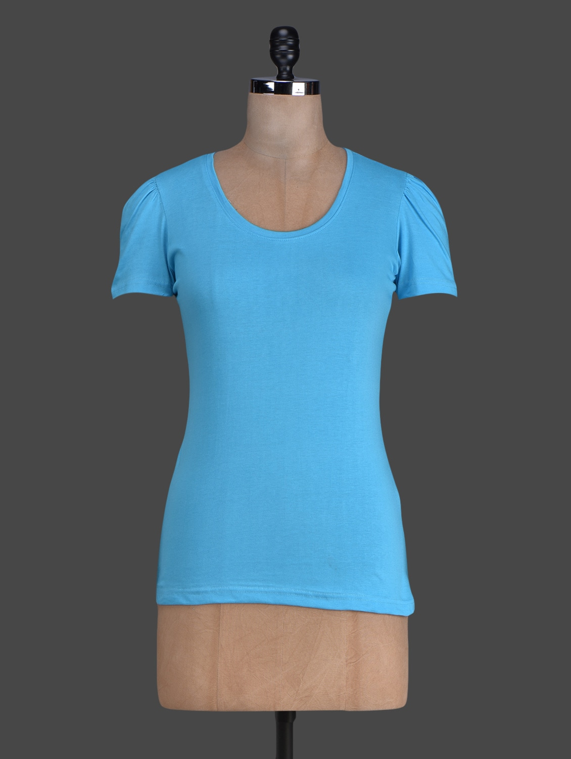 Blue Plain Short Sleeves Cotton Tee - By