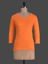 Orange Plain Quarter Sleeve Cotton Tee - Fashionexpo