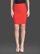 Red Plain Polyester And Lycra Bodycon Skirt - Fashionexpo