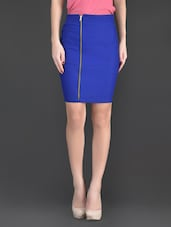 Blue Plain Polyester And Lycra Bodycon Skirt - Fashionexpo