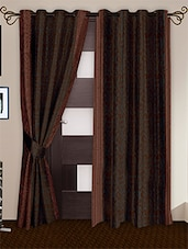 Brown Printed Polyester Door Curtains (Set Of 2) - Story @ Home