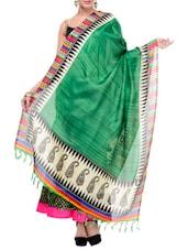 Green Art Silk Bhagalpuri  Dupatta - By