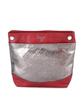 Silver Tone Leatherette Sling Bag - Baggit