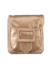 Gold Tone Leatherette Sling Bag - Baggit