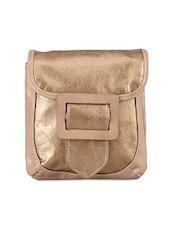 Gold Tone Leatherette Sling Bag - Baggit