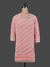 Stripes Printed Round Neck Poly Viscose Top - Scarleti Western Wear