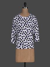 Polka Dots Printed Round Neck Poly Knit Top - Scarleti Western Wear