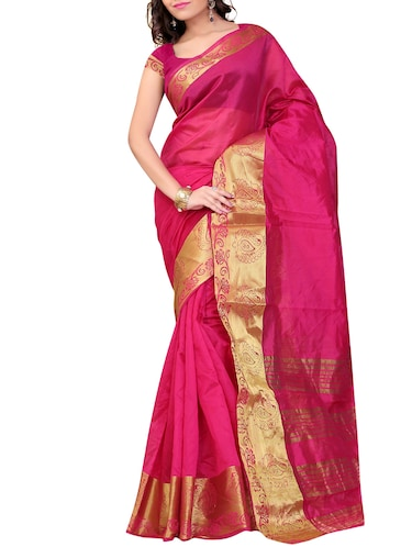 pink art silk banarasi saree with blouse - 11271911 - Standard Image - 1