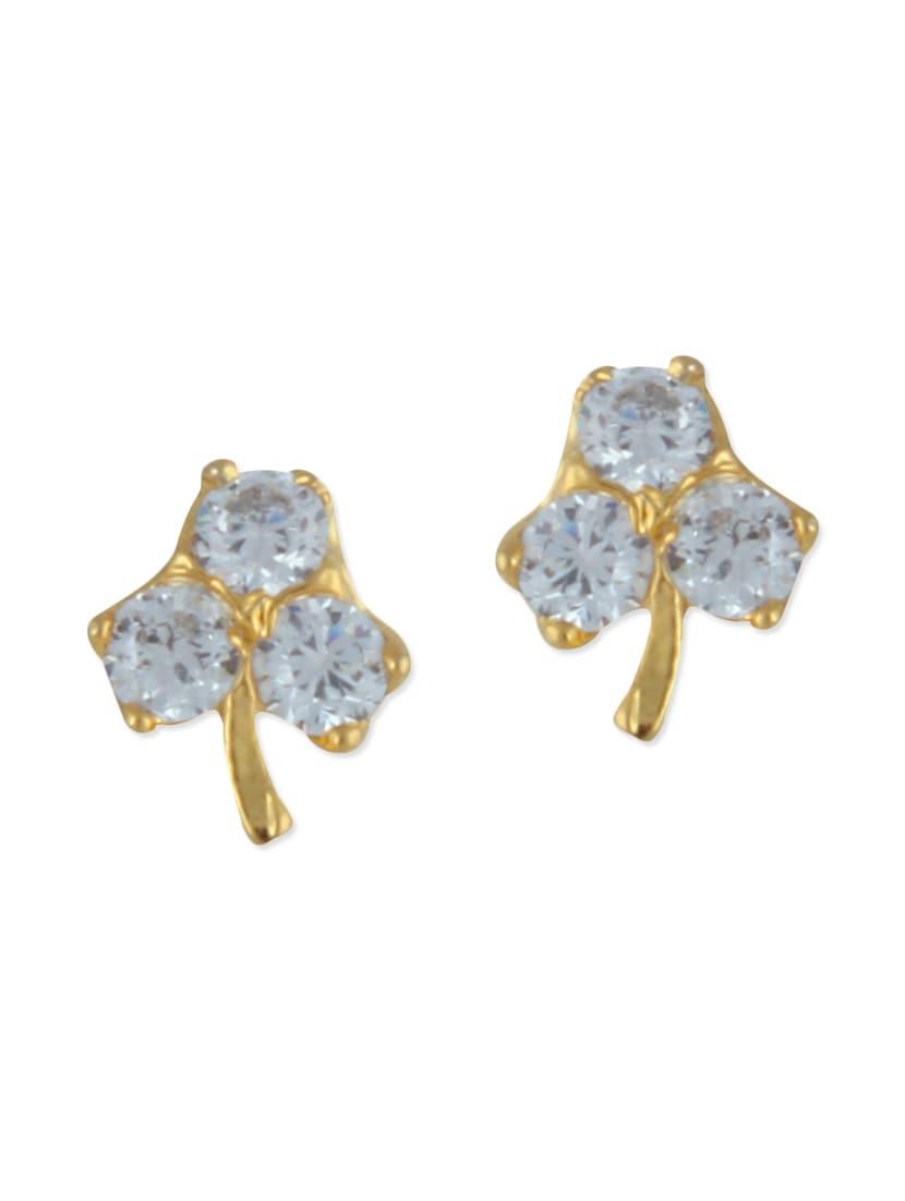 golden brass studs earrings