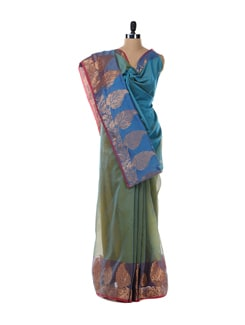 Mehendi Green And Blue Saree - Bunkar
