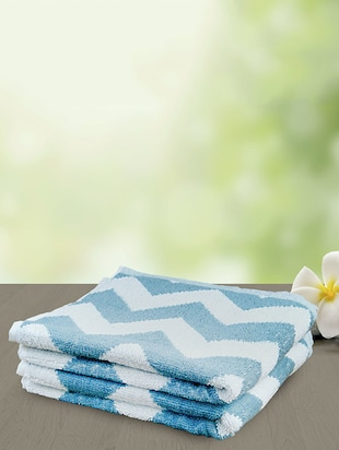 blue and white cotton bath towel -  online shopping for towels