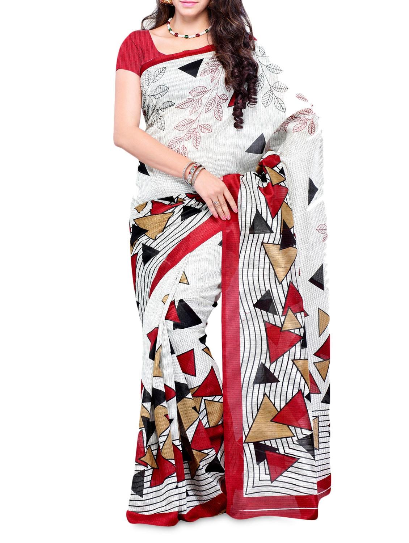 Geometric Print Art Silk Saree - DIVA FASHION