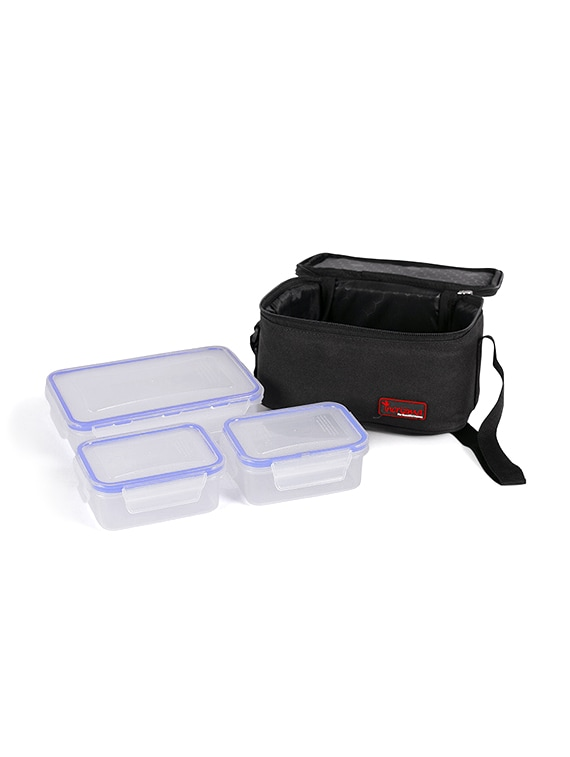 Incrizma Plastic Yummy 3 pc Deluxe Lunch Box with insulated bag - set of 2