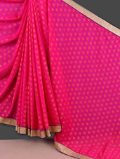Pink Jacquard Chiffon Saree With Gold Border - Manvaa
