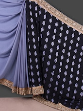 Black And Grey Satin Coated Viscose Saree - By