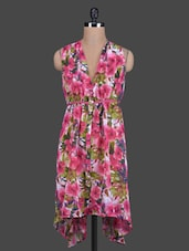 Pink Printed Gather Poly Georgette Dress - By