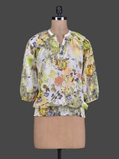 Green Printed Poly Georgette Top - Meiro
