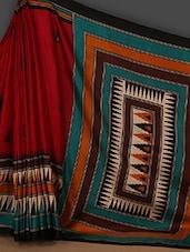 Red Art Silk Saree With Temple Border - Rajesh Silk Mills