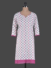 White Kurta With Pink Lace Panel - ETHNICLOOK