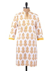 Block Printed Three Quarter Sleeve Cotton Kurta - Salwar Studio