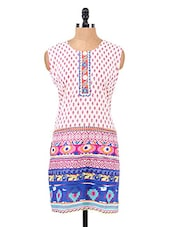Block Printed Sleeveless Cotton Kurta - Salwar Studio