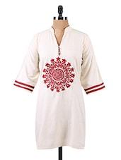Mandarin Collar Quarter Sleeves Cotton Kurta - Salwar Studio