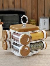 Wood Finish Printed Spice Rack Set Of Eight - JVS