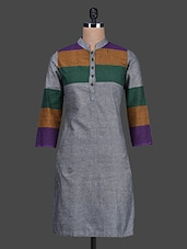 Color Block Mandarin Collar Cotton Kurta - Titch Button