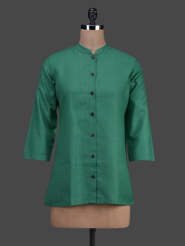 Green Button Down Cotton Short Kurta - Titch Button