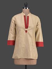 Beige & Red Cotton Short Kurta - Titch Button