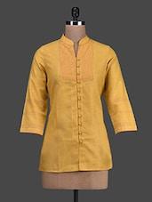 Yellow Stitch Detailed Cotton Short Kurta - Titch Button