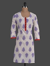 White Printed Round Neck Cotton Kurti - Titch Button