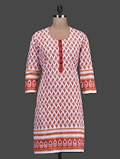 Printed Round Neck Cotton Kurti - Titch Button