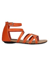 Orange Strappy Zip Closure Sandals - KZ Classics