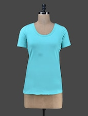 Short Sleeves Round Neck Solid Top - Vrtya
