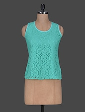 Round Neck Sleeveless Lace Top - Queens