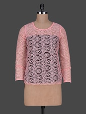 Polyester Lace Round Neck Top - Queens