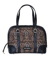 Black Embossed Leather & Silk Fabric Handbag - Ritu Kumar