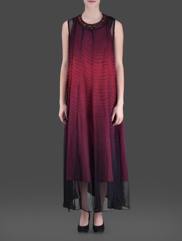 Black And Maroon Embellished Maxi Dress - LABEL Ritu Kumar