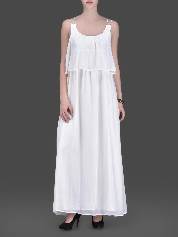Off White Strappy Maxi Dress - LABEL Ritu Kumar