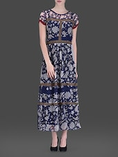 Navy Blue Floral Printed Maxi Dress - LABEL Ritu Kumar