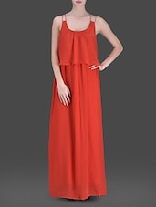 Red Strappy Maxi Dress - LABEL Ritu Kumar