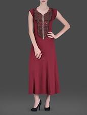 Maroon Embellished Long Dress - LABEL Ritu Kumar