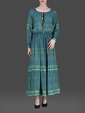 Teal Viscose Printed Maxi Dress - LABEL Ritu Kumar