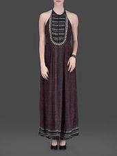 Brown Halter-neck Maxi Dress - LABEL Ritu Kumar