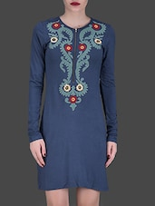 Navy Blue Embroidered Bodycon Dress - LABEL Ritu Kumar